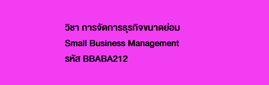 การจัดการธุรกิจขนาดย่อม / Small Business Management